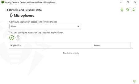 Screen: microphone tab